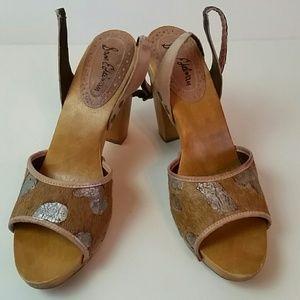 Sam Edelman 9.5 Cowhide Leather Wood Block Heel